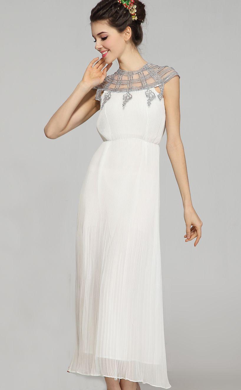 Priscilla of boston wedding dress  White Short Sleeve Lace Sequined Chiffon Dress  Sheinside