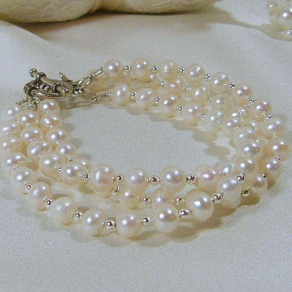 A Touch of Silver Freshwater Triple Strand by tbyrddesigns on Etsy, $29.00