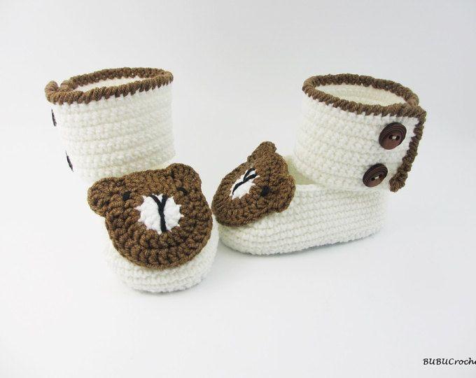 Botitas de bebé osito de ganchillo, zapatos de bebé del ganchillo ...