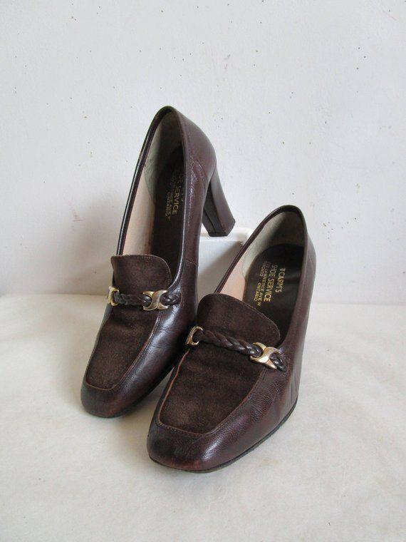 98003510e8d9d Vintage 1970s Womens Shoes Dark Brown Suede Block Heel Leather 70s ...