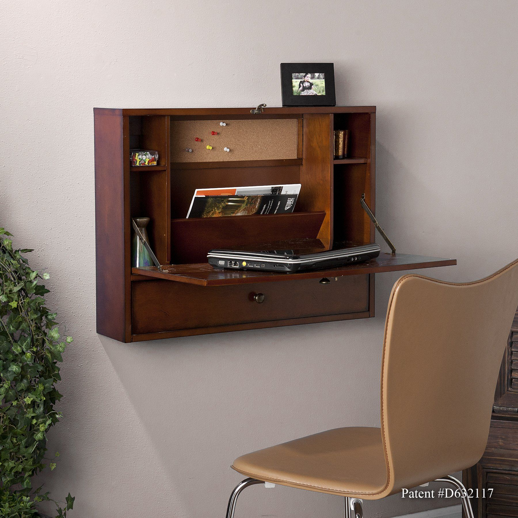 Wall Mount Laptop Desk  Brown Mahogany