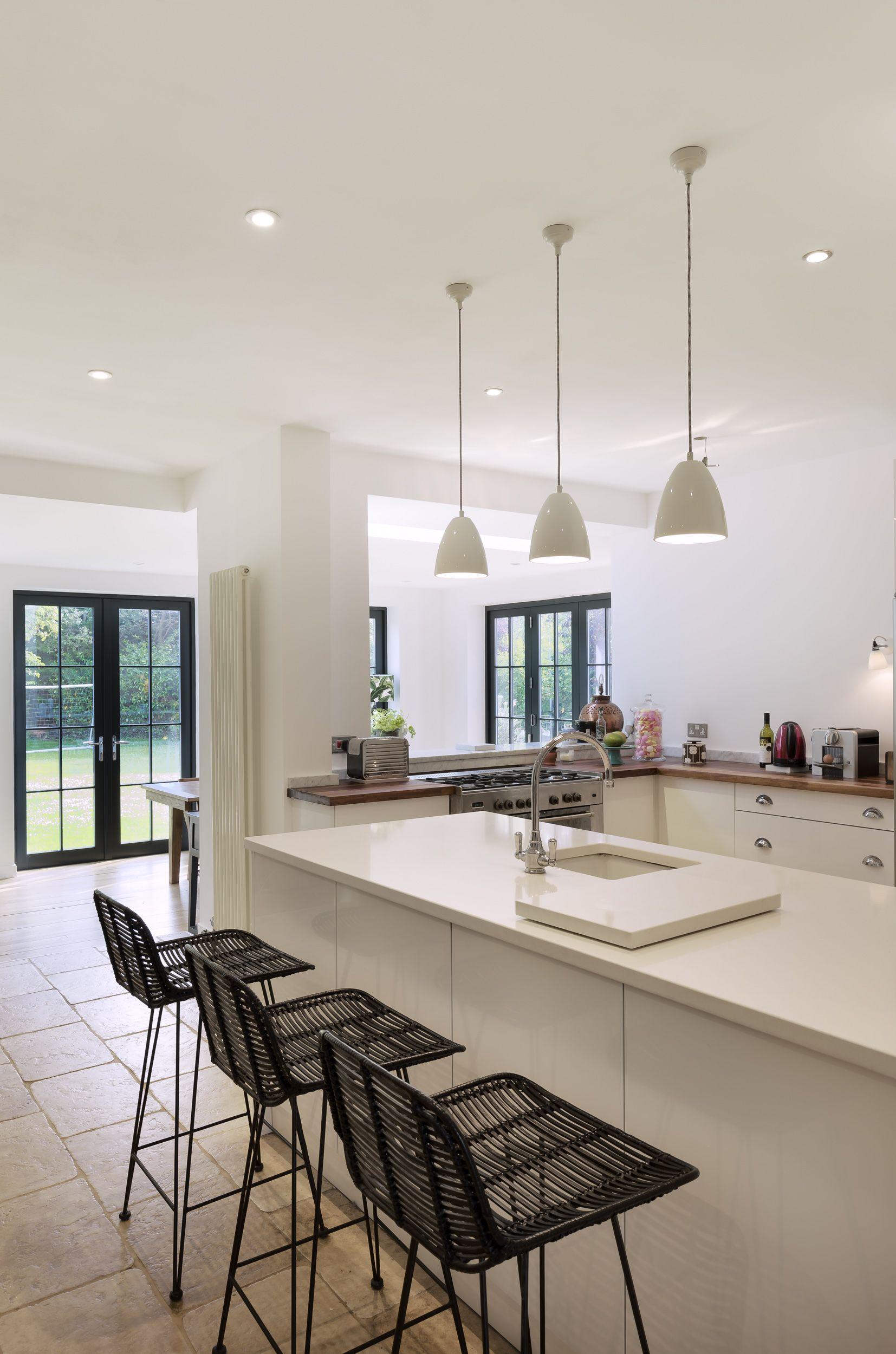 Kitchen Island Breakfast Bar Pendant Lighting. Open Plan Kitchen | Rear  Extension Breakfast Bar Island