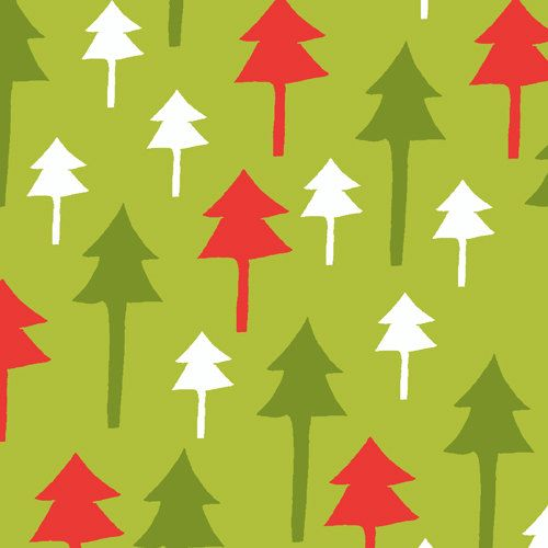 Santa Claus is Coming to Town Christmas Holiday Fabric AF Mod Retro Trees Tree on Green