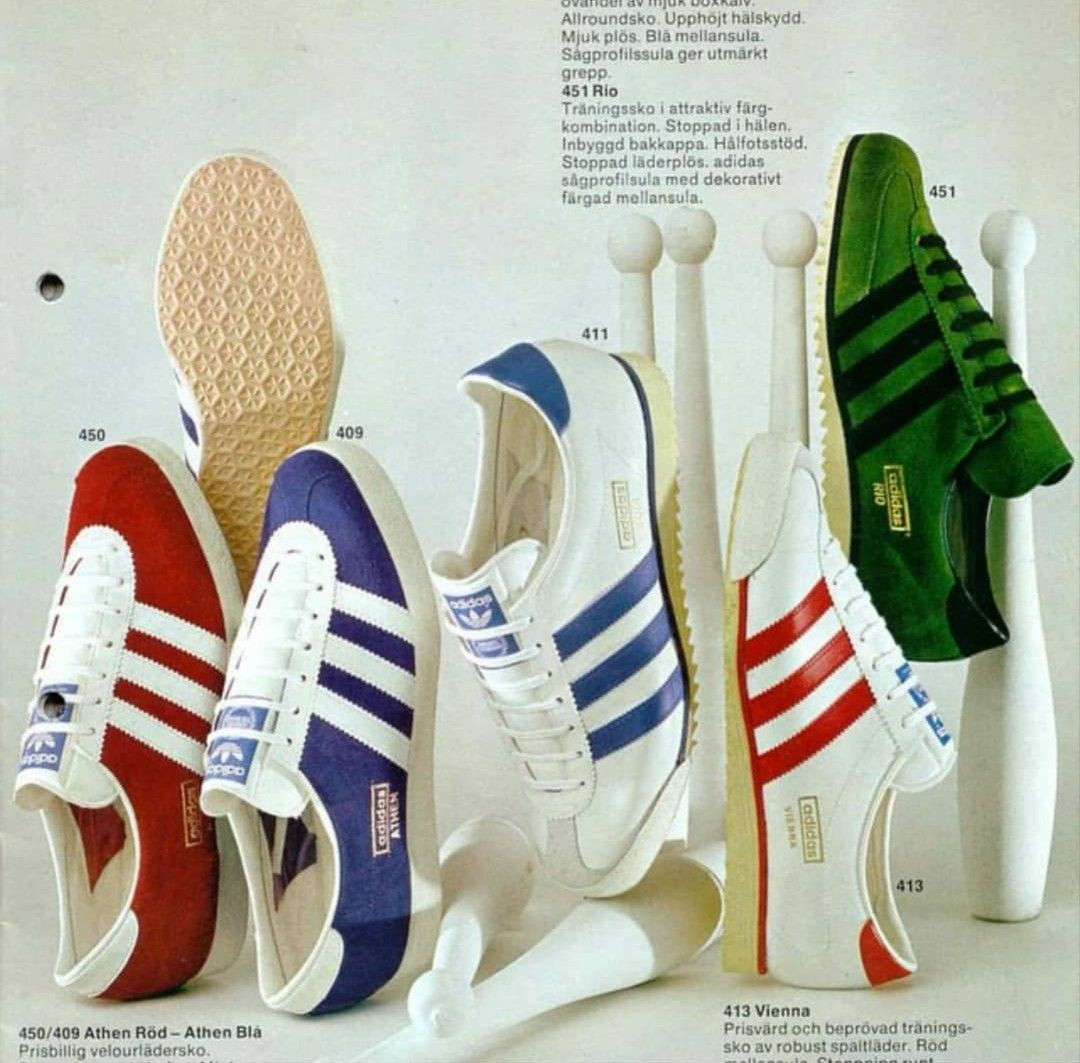 4bc796c175 Athen red and blue, Rom, Vienna and Rio from a 1975 Swedish adidas brochure  - what a year!
