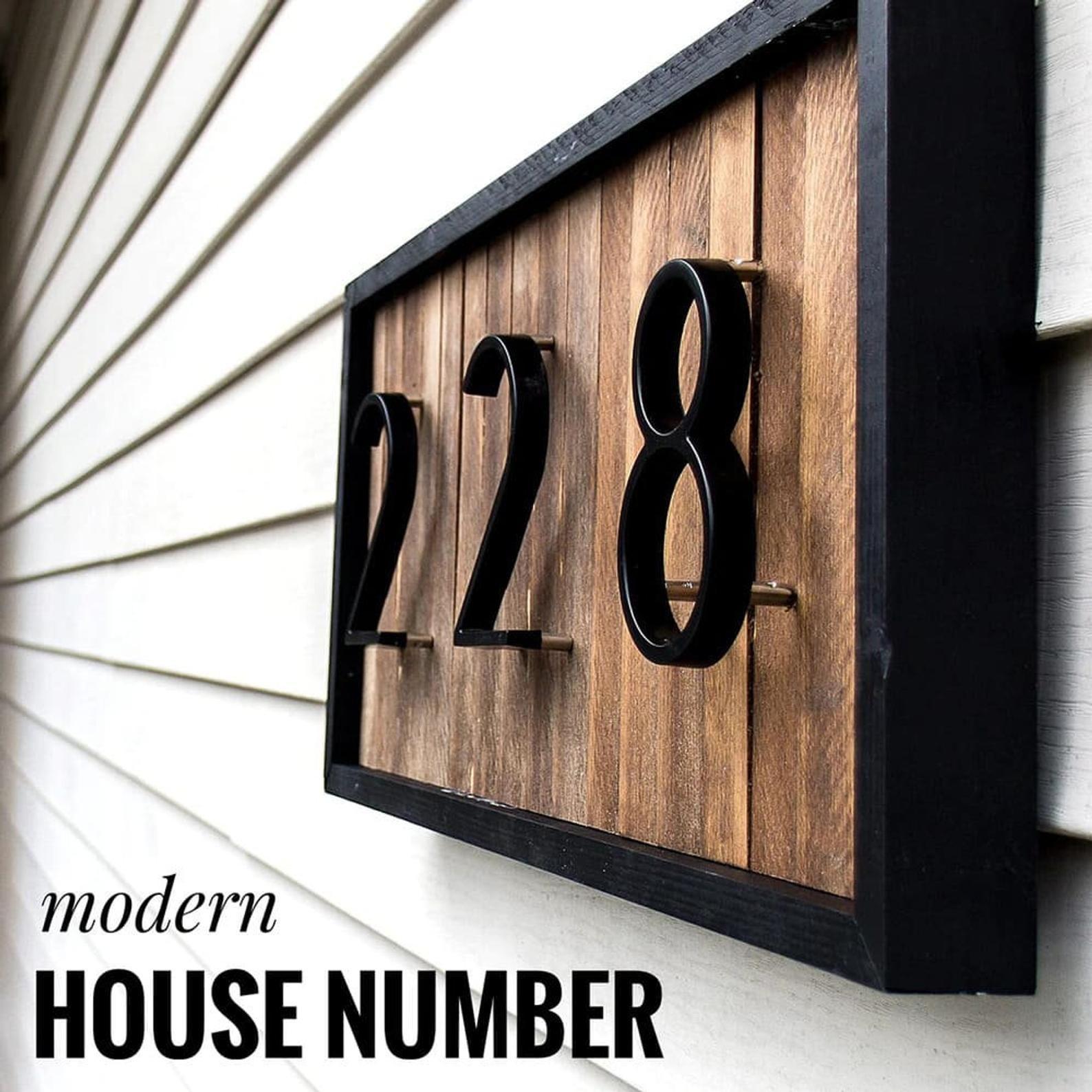 Metal House Number Letters 125mm Floating Big Modern Door Alphabet Home Outdoor Modern House Number Floating House House Numbers