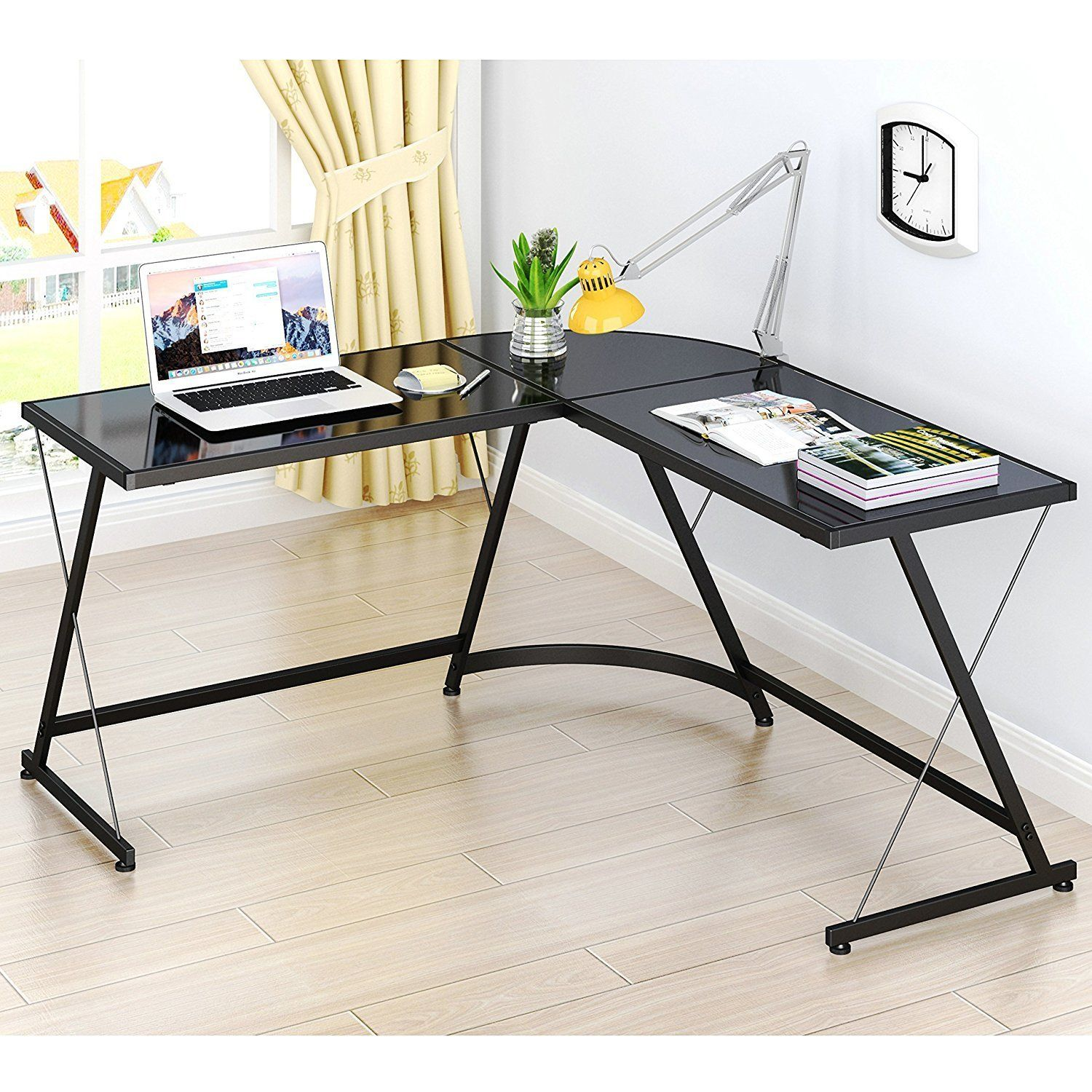Amazon Com Lecrozz L Shaped Home Office Corner Desk Office Products Corner Desk Office L Shaped Corner Desk Corner Computer Desk
