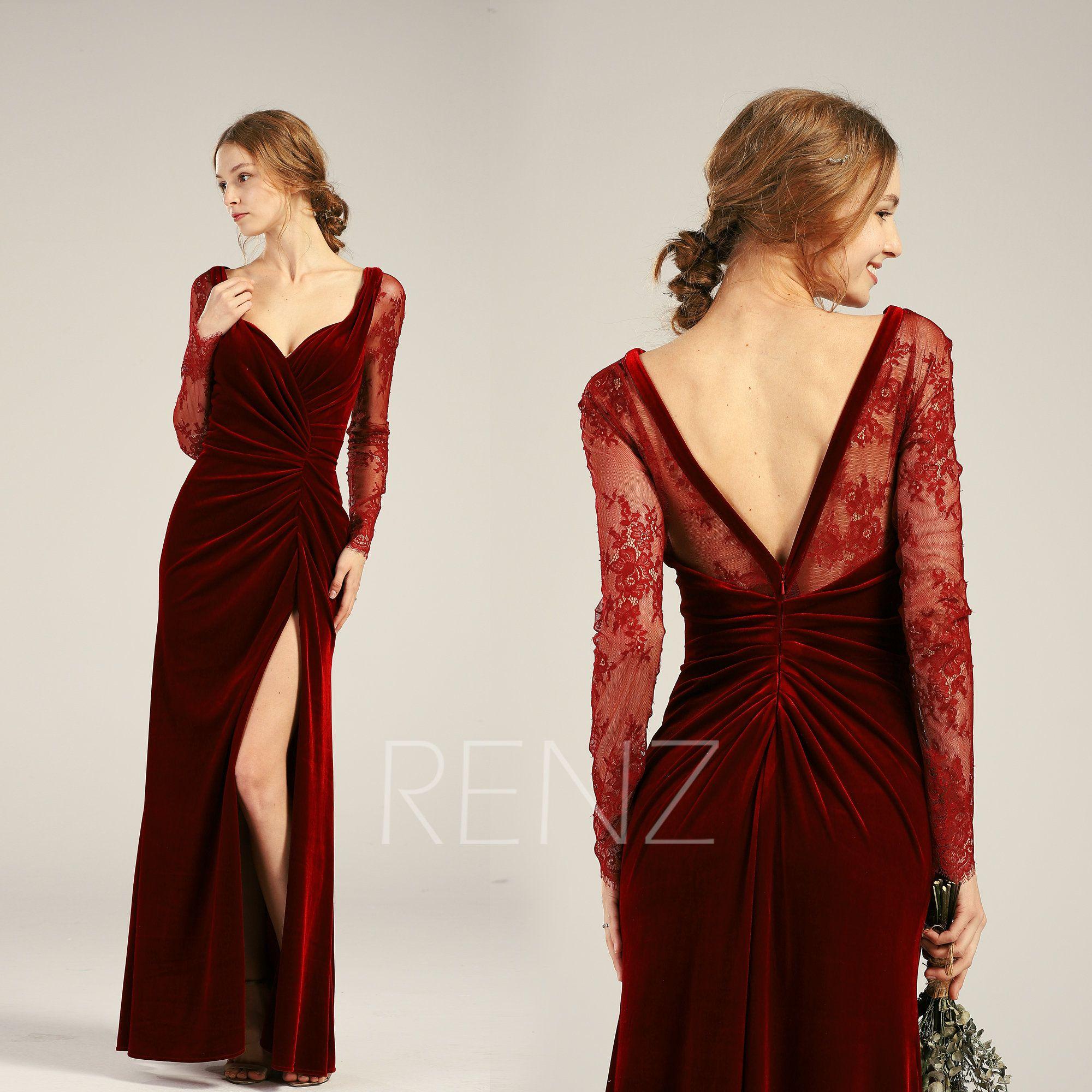 Velvet Dress Wine Long Sleeve Mother Of The Bride Dress Fitted Etsy Lace Sweetheart Wedding Dress Velvet Dress Dresses