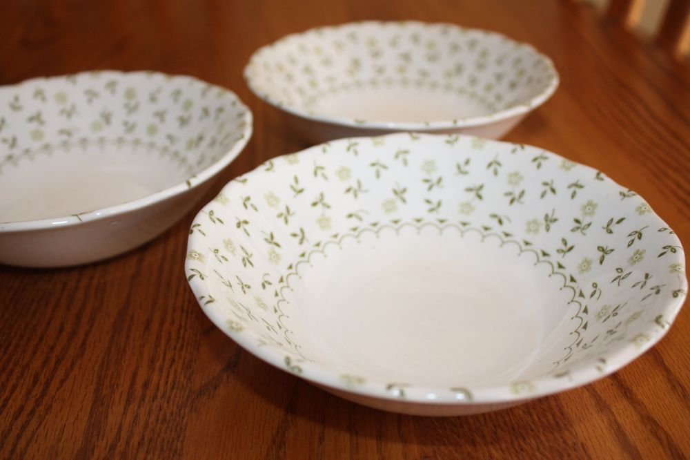 """Set of three Royal Staffordshire """"Blossom Time"""" Soup/Salad Bowls. Heirloom Ironstone by J G Meakin, England. All three bowls in excellent condition and measure 6 1/2"""" Diameter."""