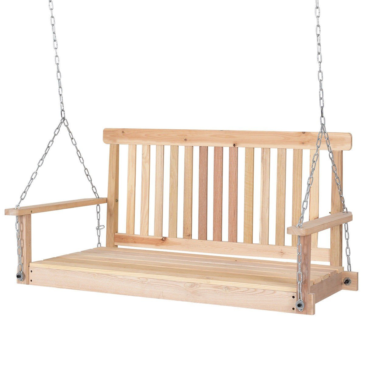 Wood Hanging Bench 2 Person Porch Loveseat Seating W Chains Porch