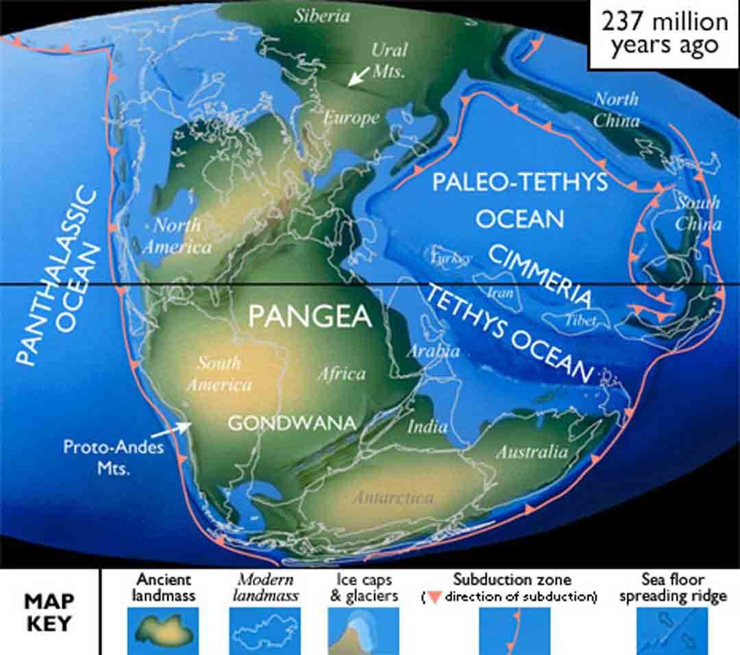 By Late Triassic, as the formation of Pangea was complete, Pangea