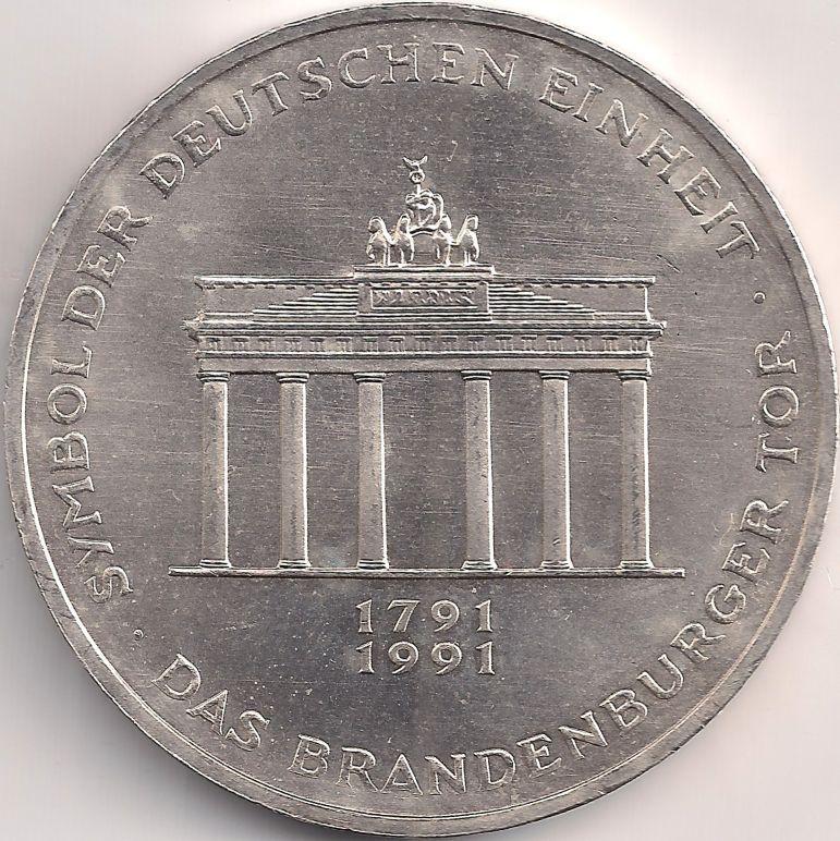 Motivseite Munze Europa Mitteleuropa Deutschland Deutsche Mark 10 00 1991 Brandenburger Tor Deutsche Mark Europa Deutschland