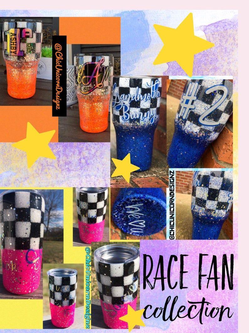 Glitter Tumbler Cups/Sports Fan Gift/Nascar Fan gift