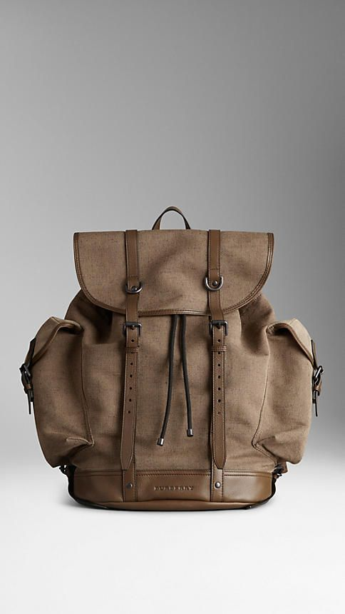 Leather Trim Cotton Canvas Backpack   Burberry