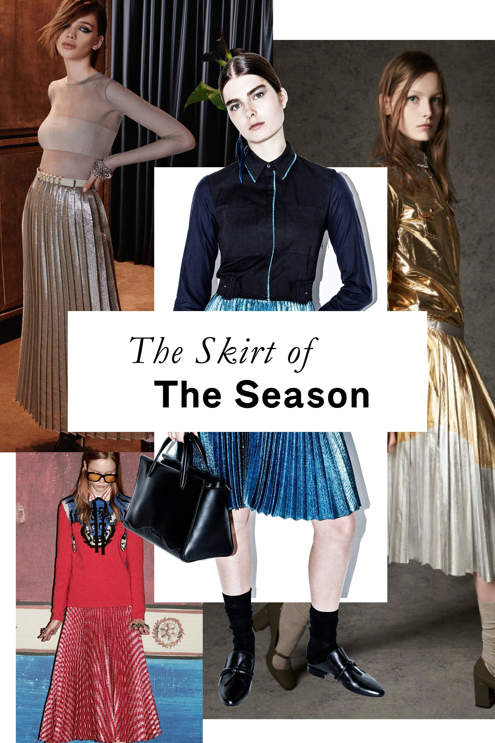 This little number may not be new (we've seen it crop up for a few seasons now), but Pre-Fall found pleated metallic skirts out in full force. Consider this the one-step solution for all your party-dressing needs.
