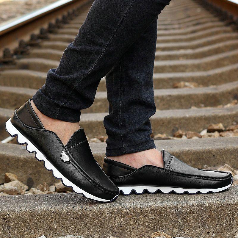 6a7db98737 Designer Mens Loafers Fashion Leather Mocassim Rubber Toe Mocassim  Masculino Black Blue Brown