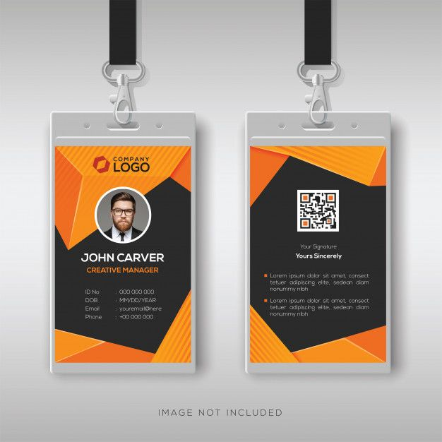 Abstract Id Card Template With Geometric Style Id Card Template Identity Card Design Graphic Design Business Card