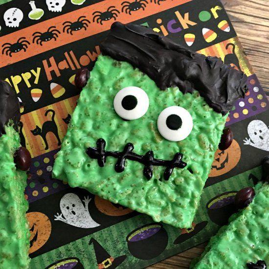 Cute Frankenstein Rice Krispie Treats #halloweenricekrispietreatsideas