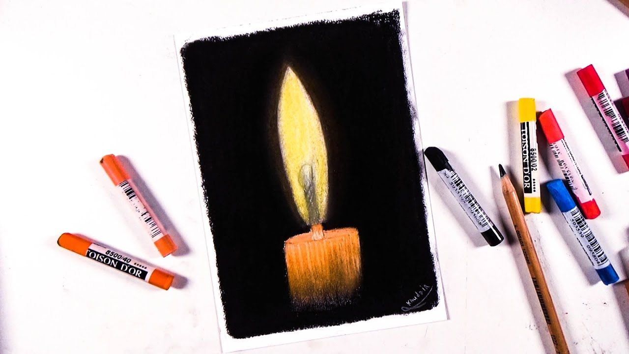 How To Draw A Soft Pastel Candle A Simple Drawing Easy Drawings Pastel Candle Soft Pastel