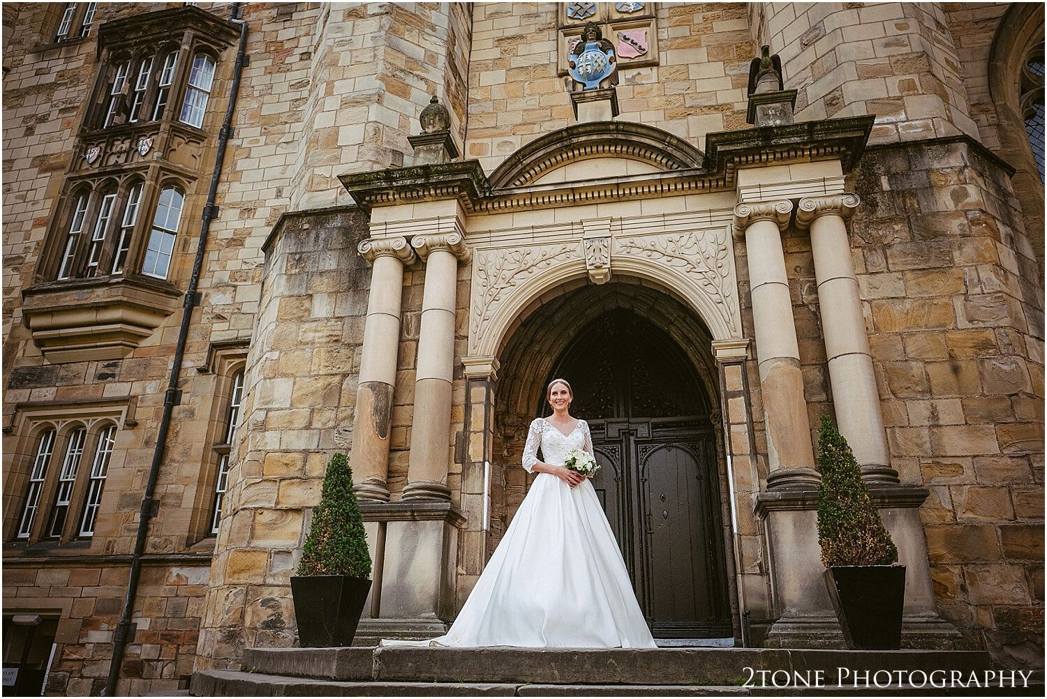 Durham castle wedding with white teardrop pear shaped
