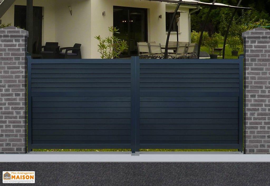 portail en aluminium avec ouverture battante motorisée 300cm, 350 cm - motorisation portail battant ouverture exterieure