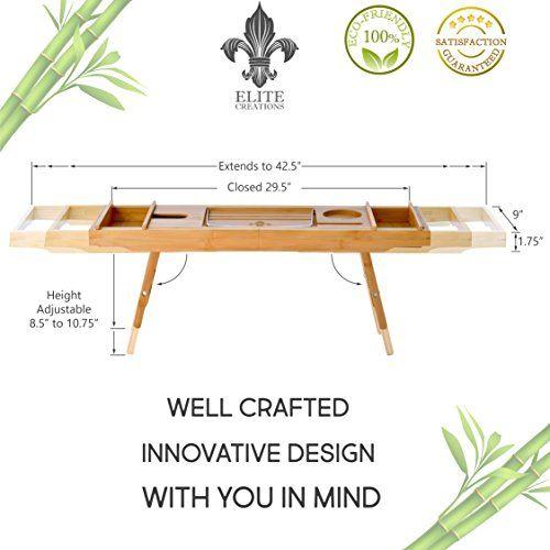 ELITE CREATIONS Bathtub Caddy & Laptop Bed Desk – 2 In 1 ...