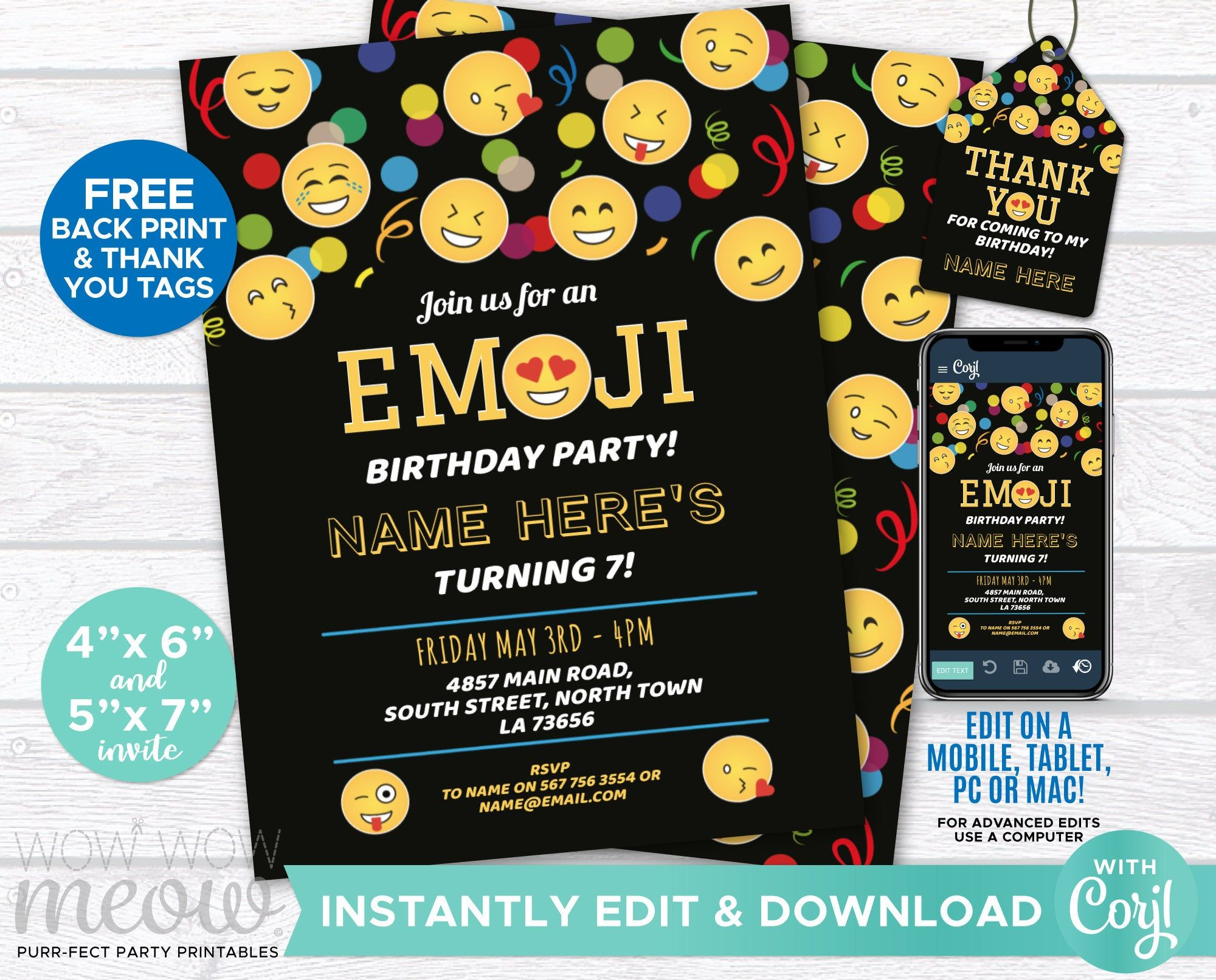 Emoji Invitation Text Birthday Party INSTANT DOWNLOAD