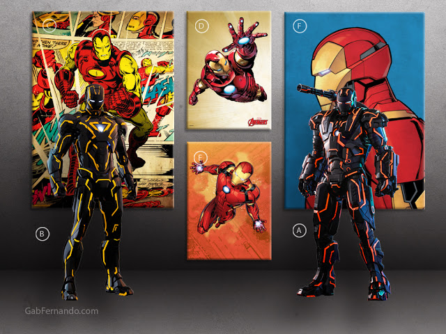 Neon Tech Iron Man and War Machine | Displate thumbnail