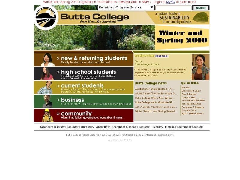 Butte College College University List High School Students