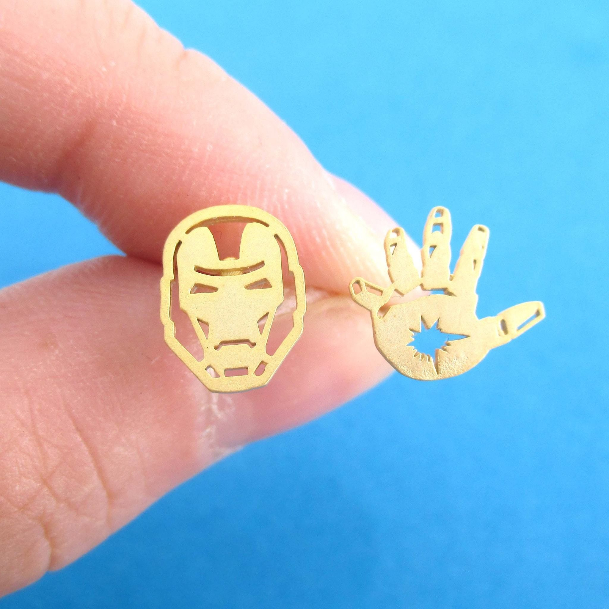 98f91ddf5 Iron Man Mask and Glove Shaped Stud Earrings in Gold | Super Hero Jewelry