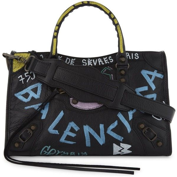 BALENCIAGA Classic City Arena graffiti small leather shoulder bag ❤ liked  on Polyvore featuring bags b74ee4f93aac0