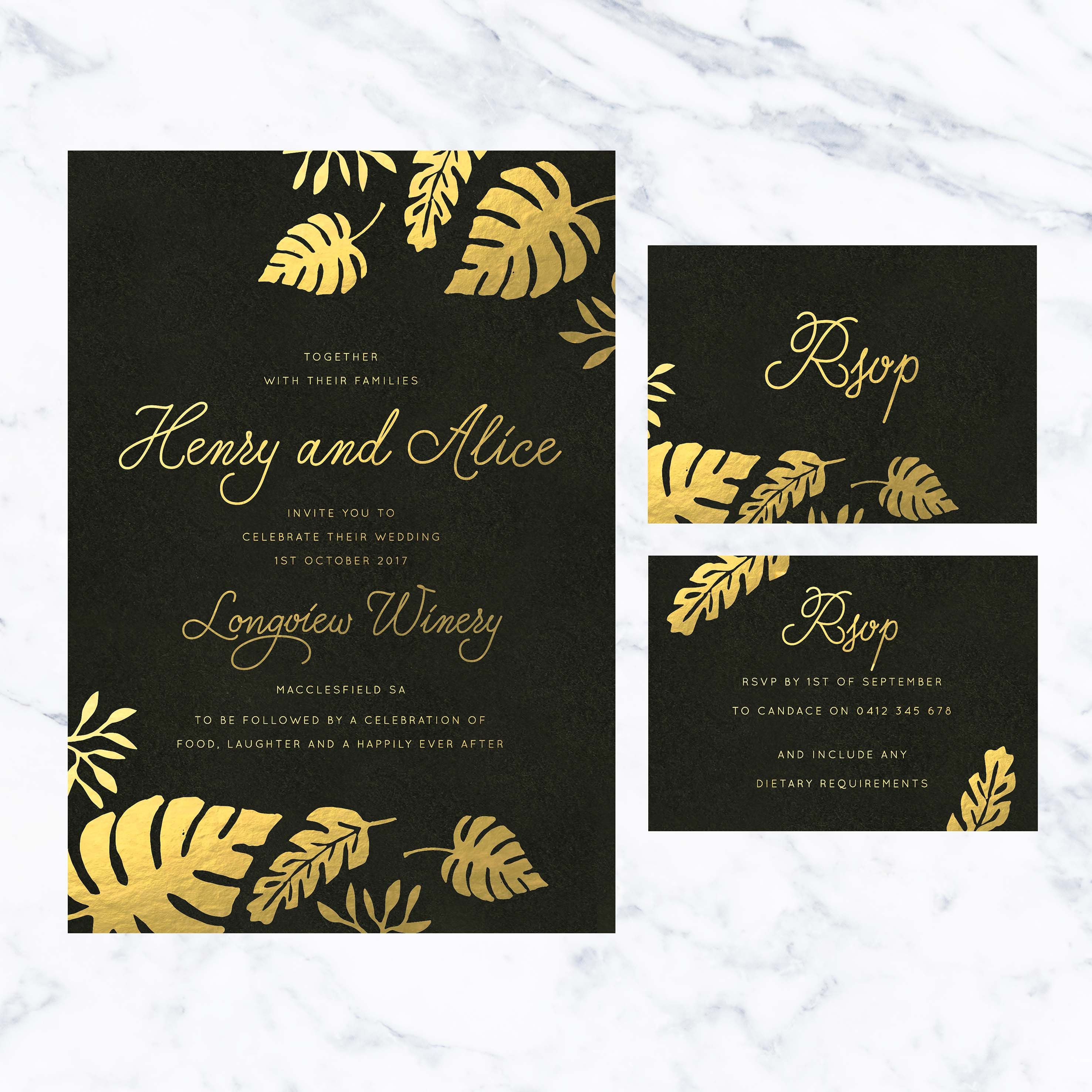 these tropical gold foil wedding invitations feature a gorgeous gold