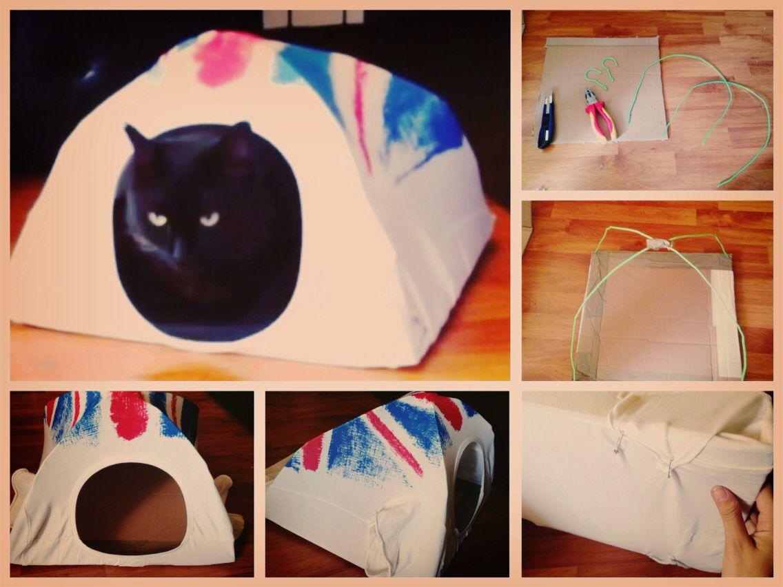 DIY. Cartón de 38x48cm; 1 camiseta, 2 perchas alambre, cinta, alicates, imperdibles... Y ya tenemos refugio para Luna!!!! A ver si le gusta... #cats #DIY