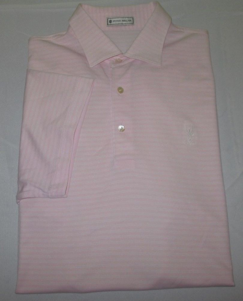 c98728d63e97 Men s PETER MILLAR Poly Golf Shirt Sz M Medium - Pink Stripe - PHOENIX CC -  AZ