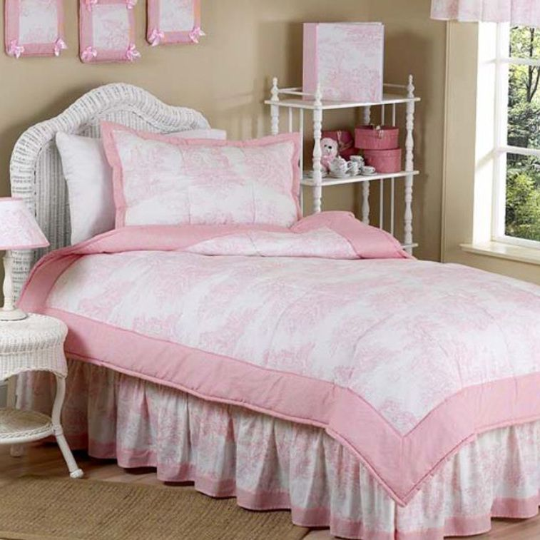 French Toile 4 Piece Twin Bedding Set
