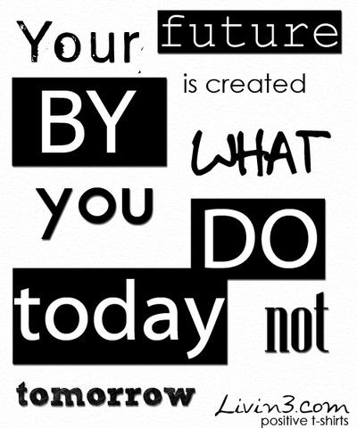 Positive Inspirational Quote Your Future Is Created By What You Do Today,  Not Tomorrow