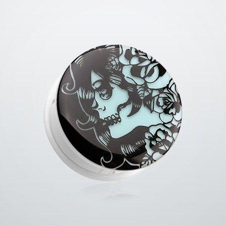 Gypsy Sugar Skull Clear UV UV Double Flared Ear Gauge Plug Sold as a Pair