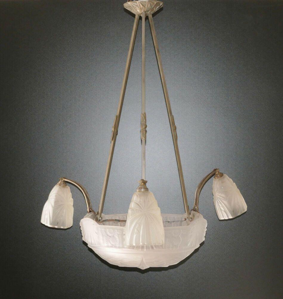 Muller Freres Luneville France Plafonnier Parrain De Trouve Vernickeltes Chassis Ebay Luneville Lampe Art Deco Plafonnier