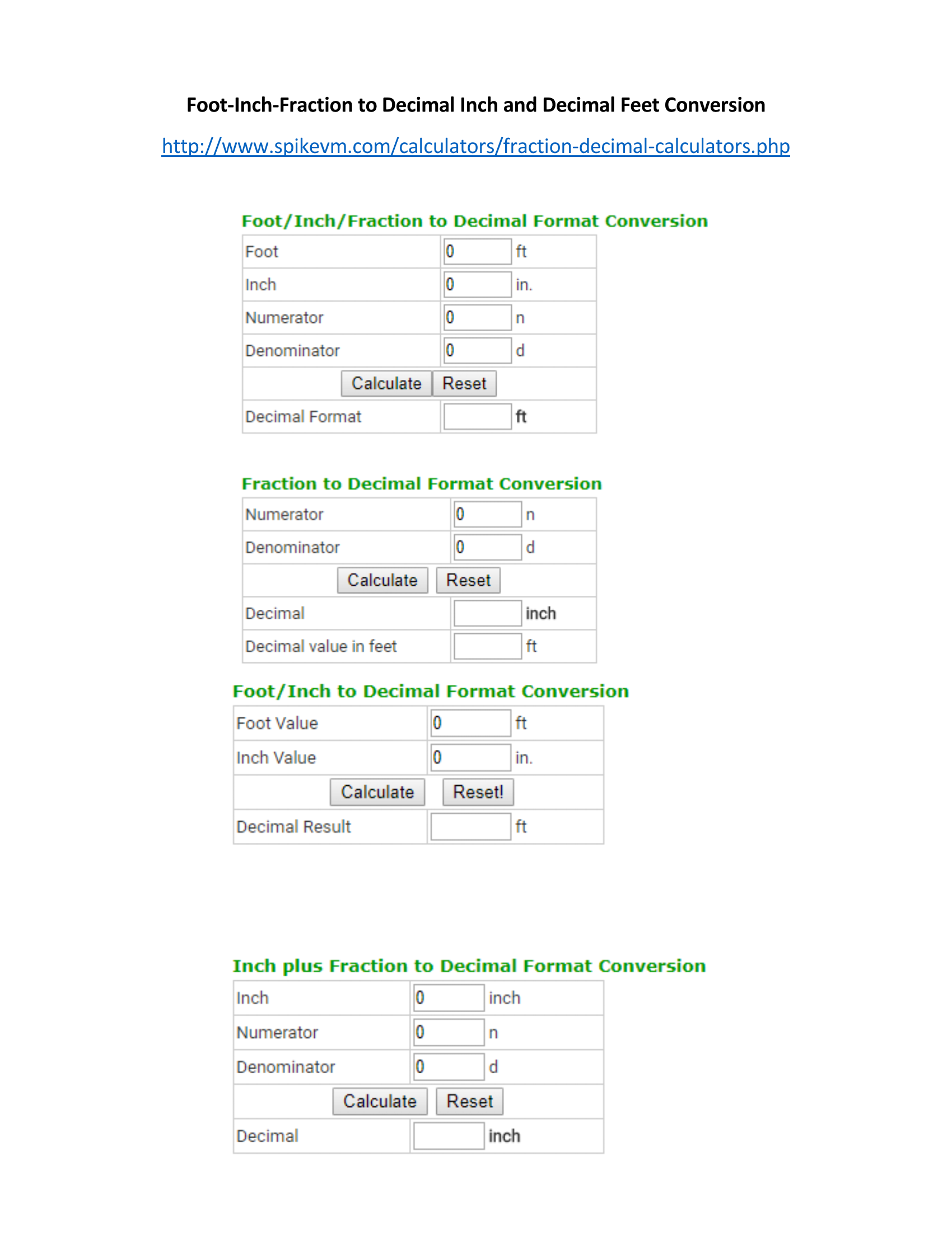 Web Site For Converting Feet Inch Fraction To Decimal Inch And