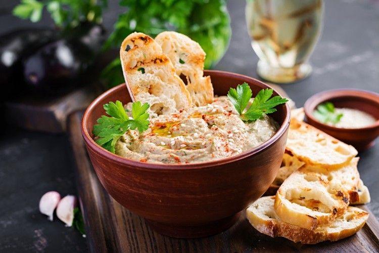 متبل باذنجان مقلي مطبخ سيدتي Recipe Vegan Hummus Eastern Cuisine Hummus
