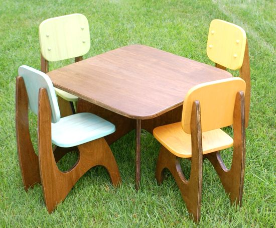 Modern Child Table set 4 chair option by JesseLeeDesigns on Etsy-- Playroom & a little seat or two or four | Modern kids Nursery decor and Nursery