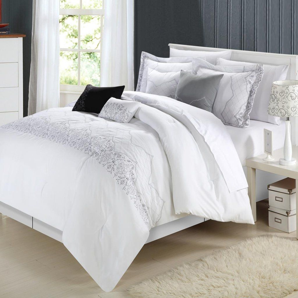 Grace White Comforter Bed In A Bag Set 8 piece | Pinterest ...