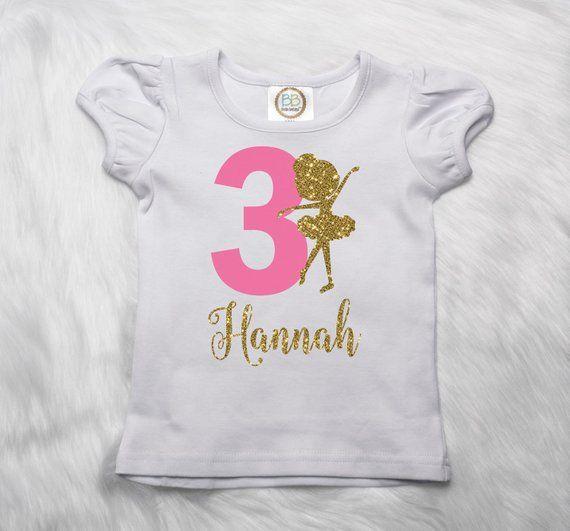 Birthday Ballerina Shirt Third 3rd Girl Personalize