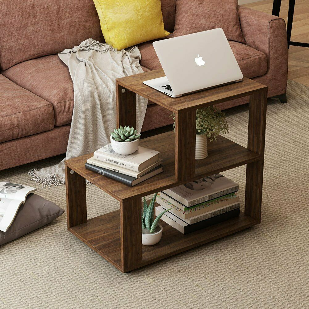 Rustic End Table 3 Tier Chair Side Table Accent Night Stand With