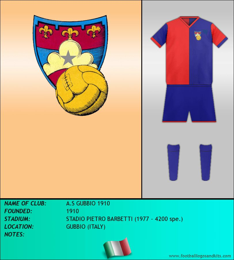 706527fed AS Gubbio 1910 of Italy crest and kit for 1910.