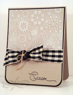 Paper Pursuits: CAS Snow - She used an embossing folder swiped with white ink (PTI's fresh snow) on the top part of the panel, then rubbed the embossed section with a paper towel to soften the design.