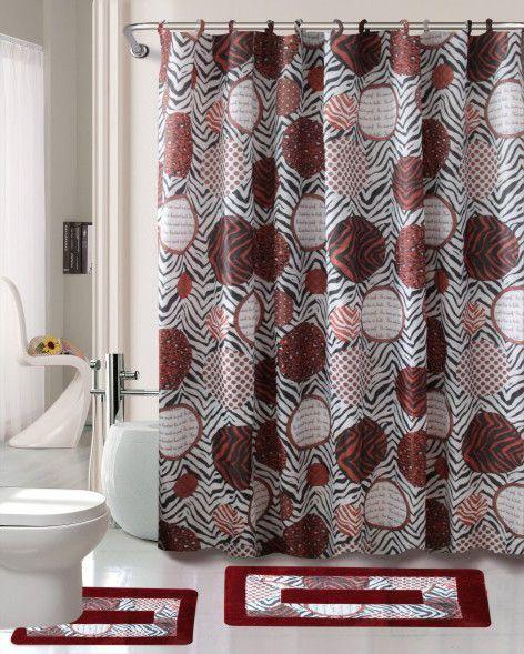 Madrid 15 Piece Printed Shower Curtain Set Bathroom Accessories