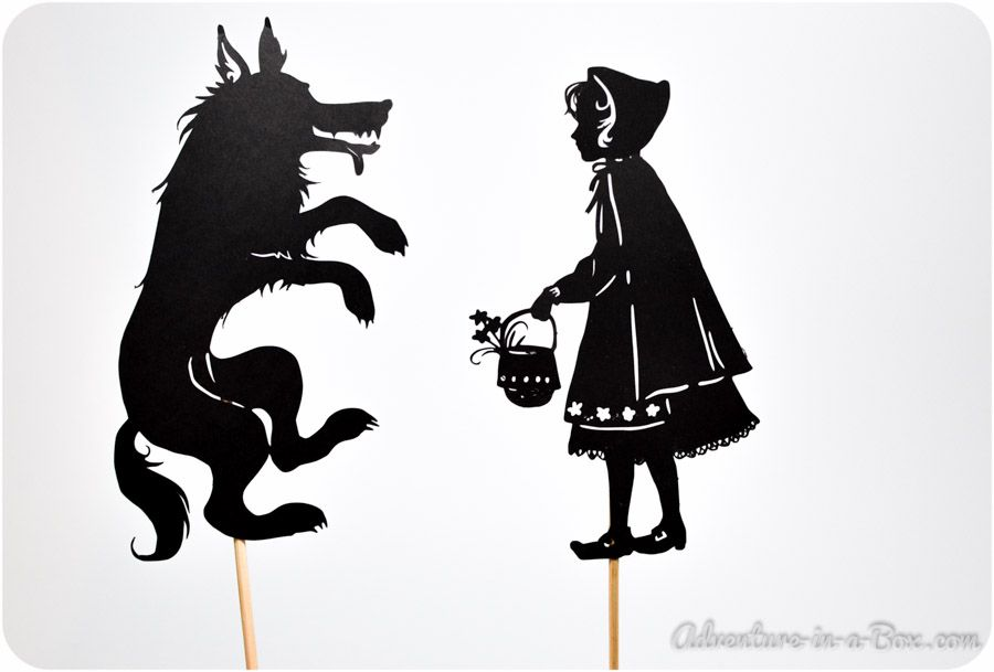 Little red riding hood shadow puppet printables child for Free shadow puppet templates