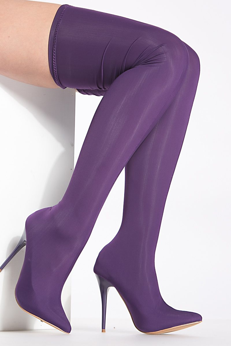 996702f86b1 Purple Stretchy Pointy Toe Thigh-High Boots   Cicihot Boots Catalog women s  winter boots