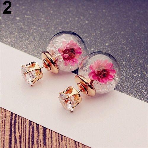 Real Dried Flower Ear Stud Earring Glass Ball Crystal Rhinestone Fashion Jewelry