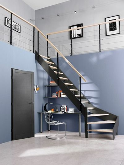 escalier en metal lapeyre pallier quart tournant couleur cr me marches en granit travaux. Black Bedroom Furniture Sets. Home Design Ideas